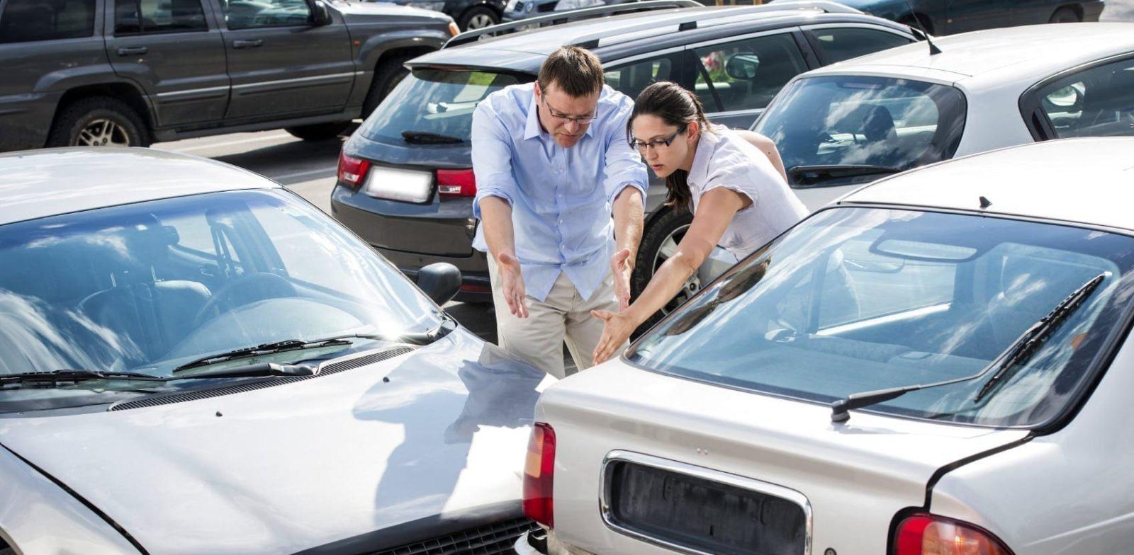 Arguing After Car Accident Stock Photo