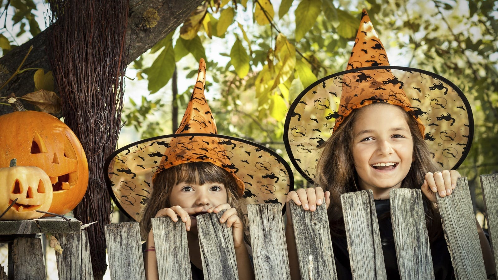 Children dressed as witches for Halloween