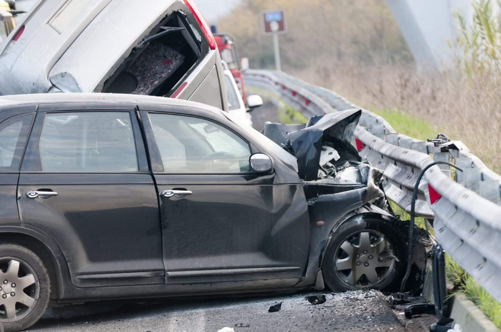 Car Accident Guardrail Stock Photo