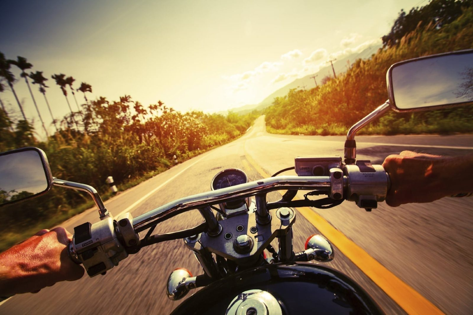 Man Riding A Motorcycle Stock Photo