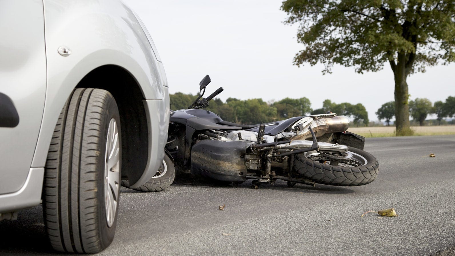 Motorcycle Accident With Car Stock Photo