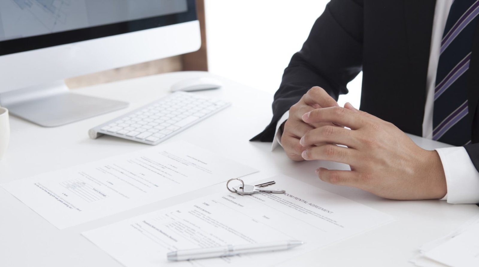 Lawyer Sitting At His Desk Stock Photo