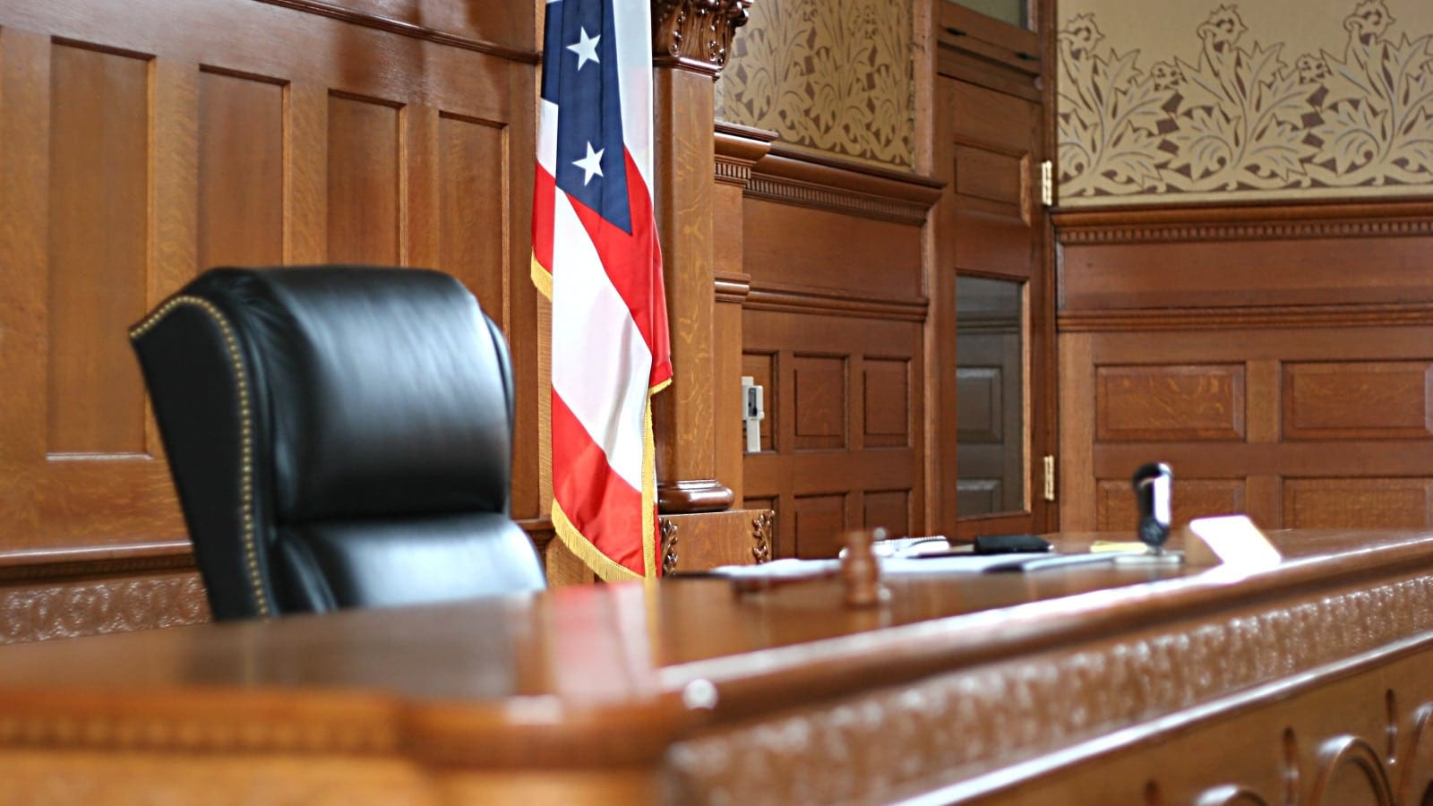 Judge's Bench In A Courtroom Stock Photo