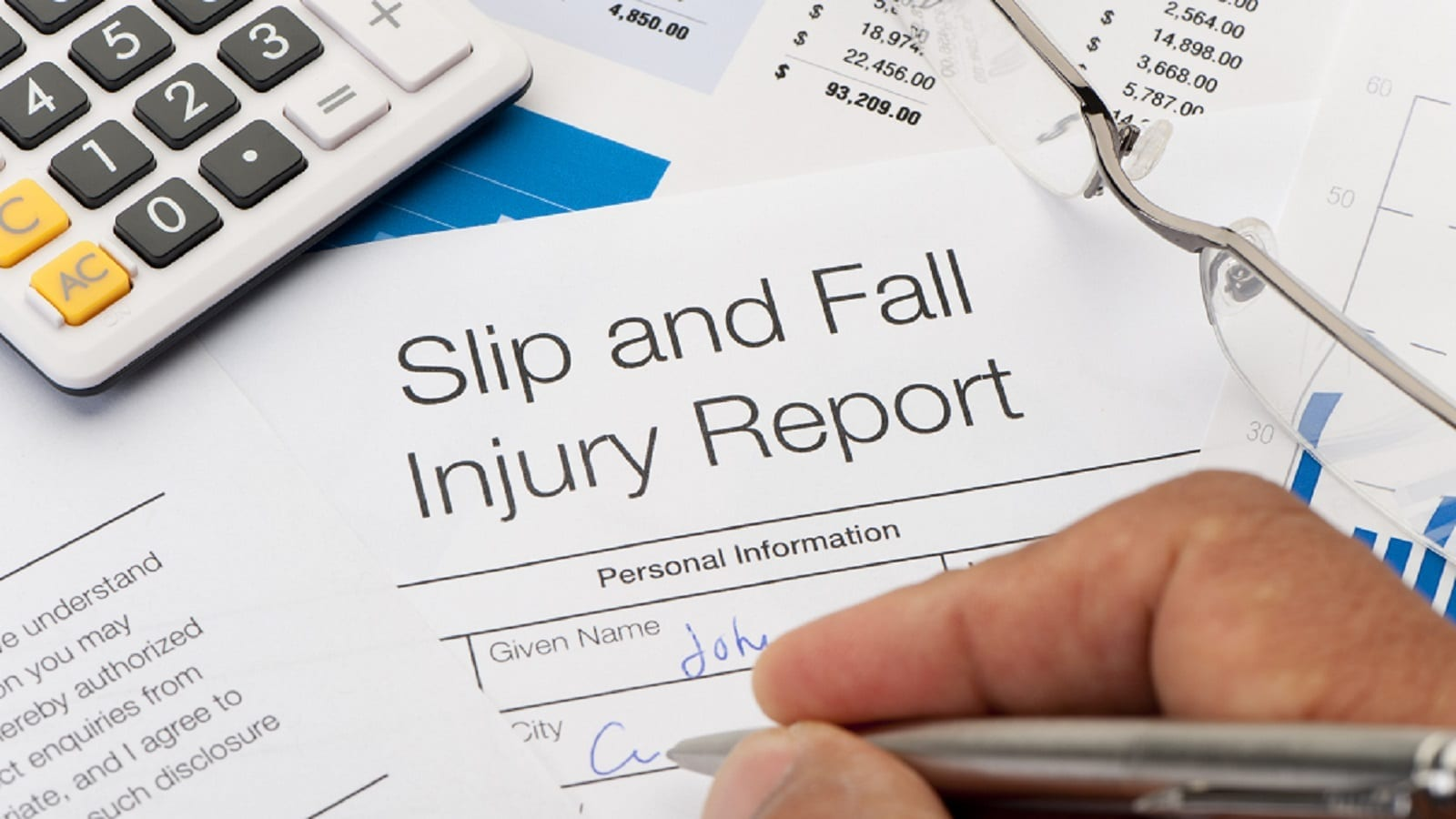 Slip and Fall Injury Report Stock Photo