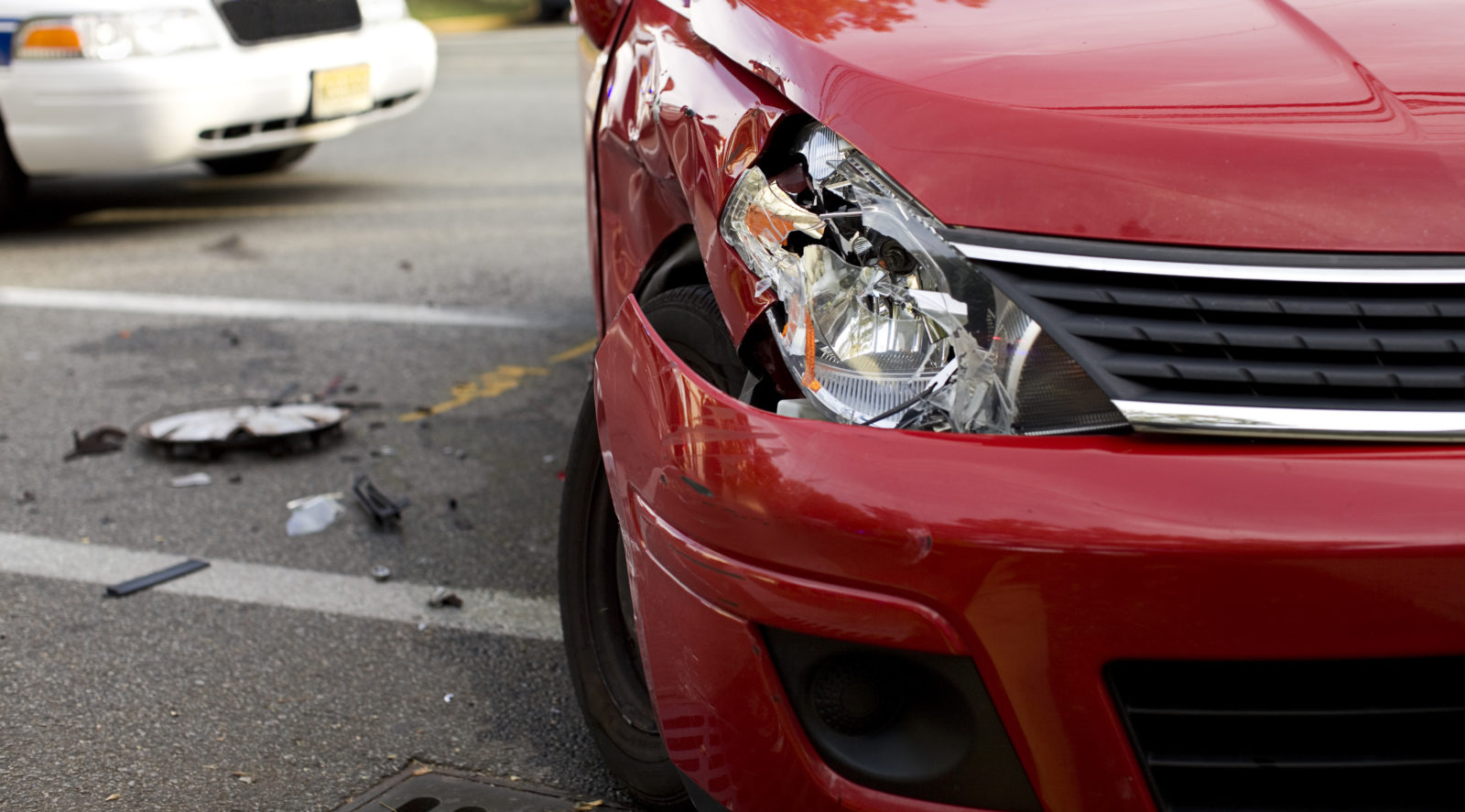 Car damaged after a car accident in Clifton, New Jersey